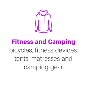Fitness and Camping bicycles, fitness devices, tents, matresses and camping gear