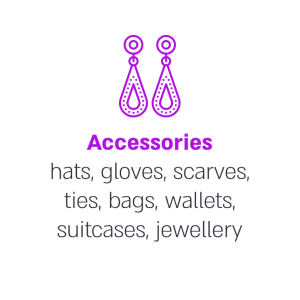Accessories hats, gloves, scarves, ties, bags, wallets, suitcases, jewellery