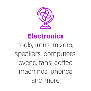Electronics tools, irons, mixers, speakers, computers, ovens, fans, coffee machines, phones and more