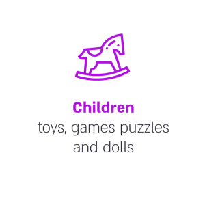 Children toys, games puzzles and dolls