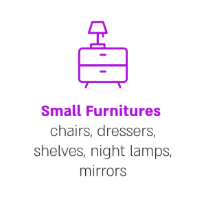 Small Furnitures chairs, dressers, shelves, night lamps, mirrors