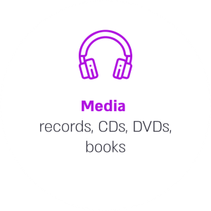 Media records, CDs, DVDs, books